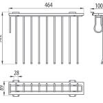 Выдвижная вешалка для брюк бокового крепления (справа) WW-WSPO00-01 Чертеж